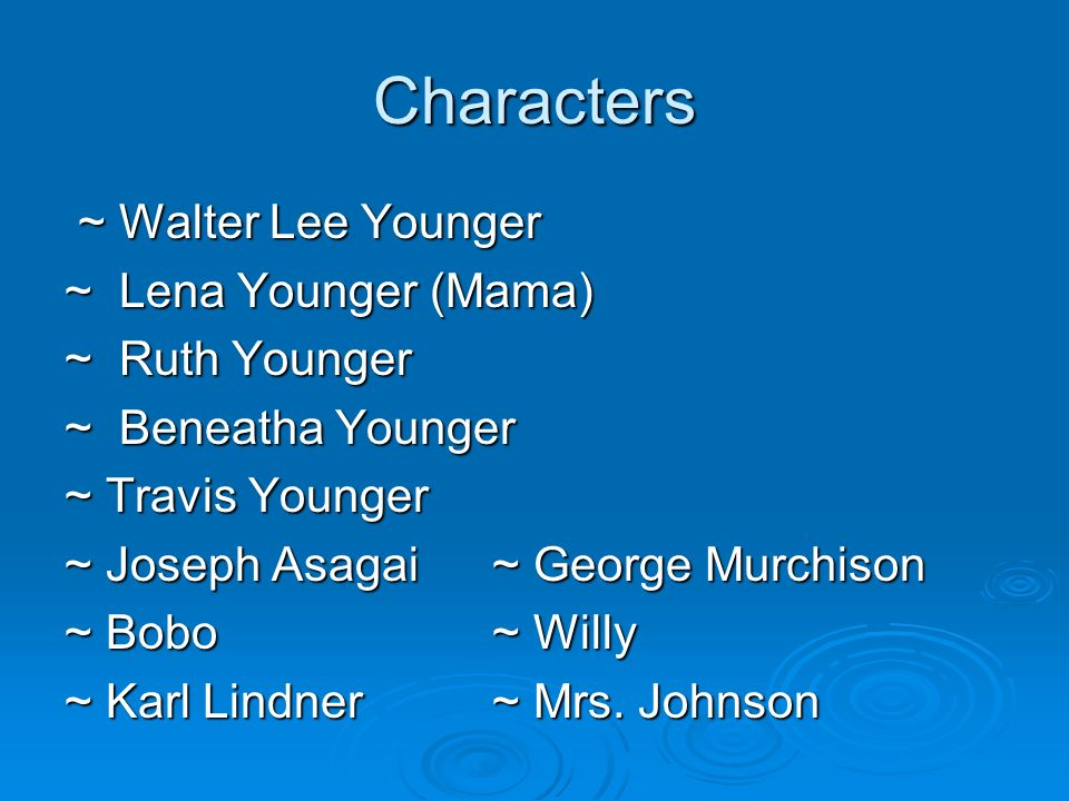 Characters ~ Walter Lee Younger ~ Lena Younger (Mama) ~ Ruth Younger