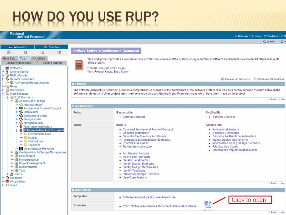 How do you use RUP Click to open