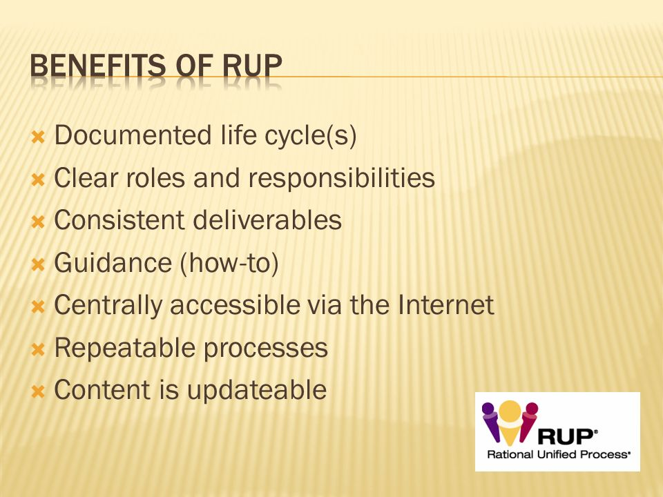 Benefits of RUP Documented life cycle(s)