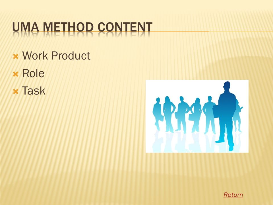 UMA Method Content Work Product Role Task Return
