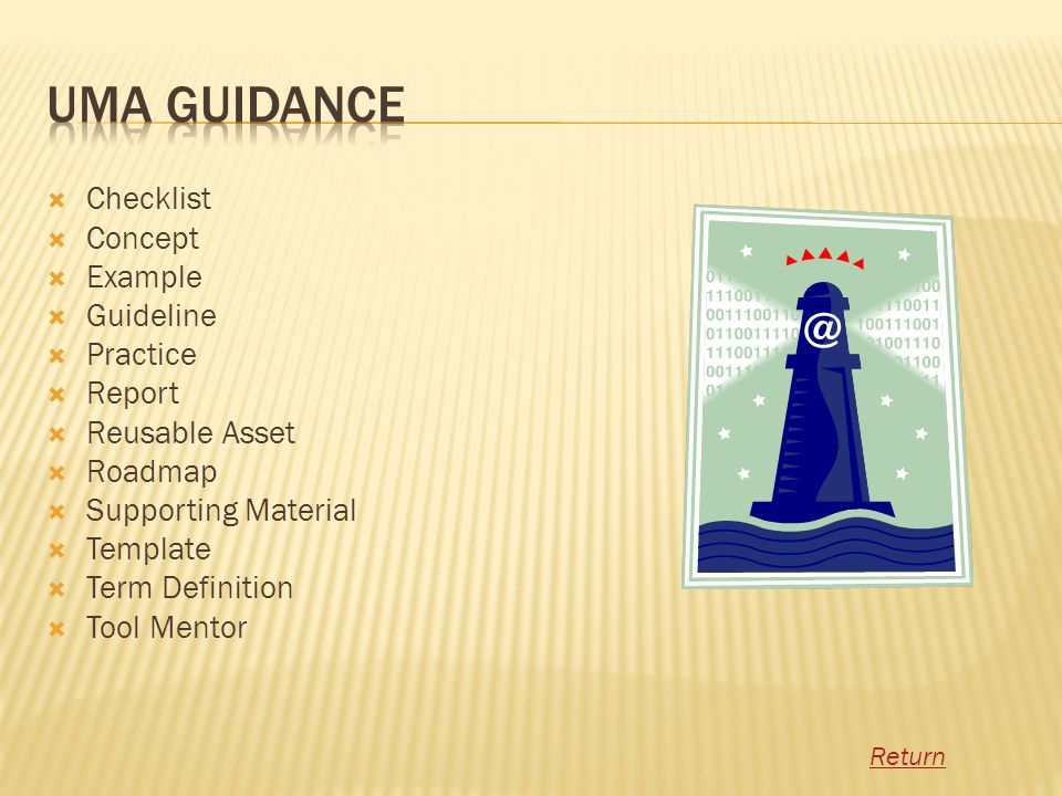 UMA Guidance Checklist Concept Example Guideline Practice Report