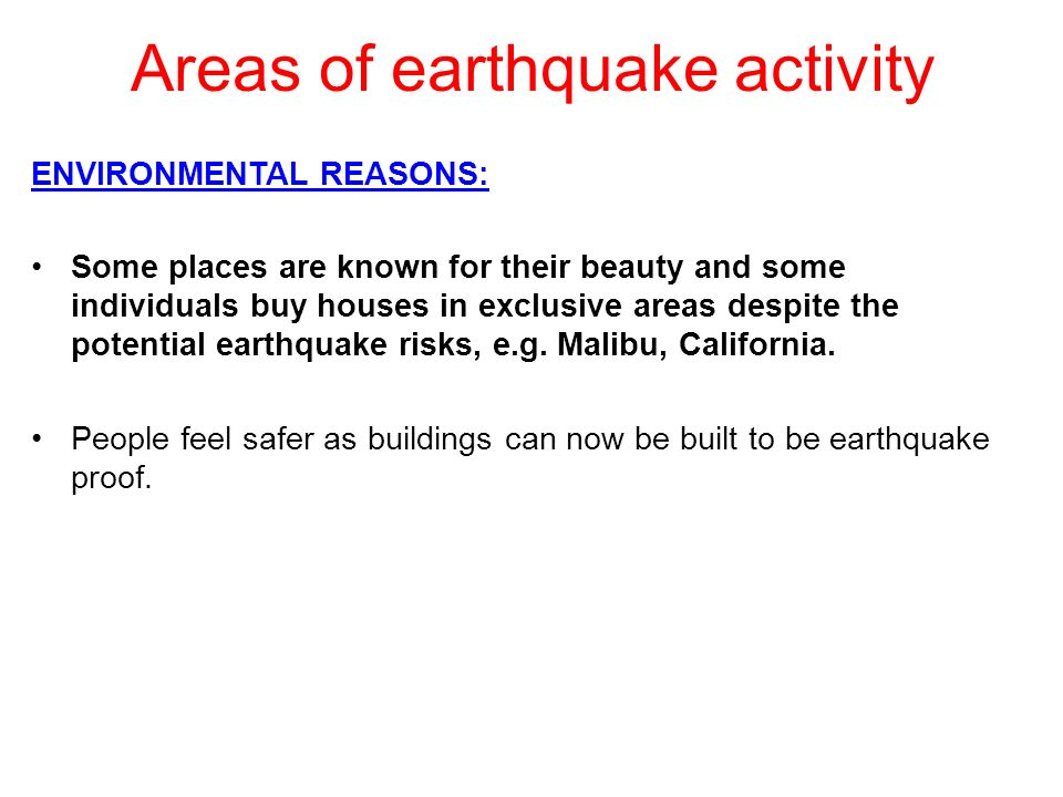 Areas of earthquake activity
