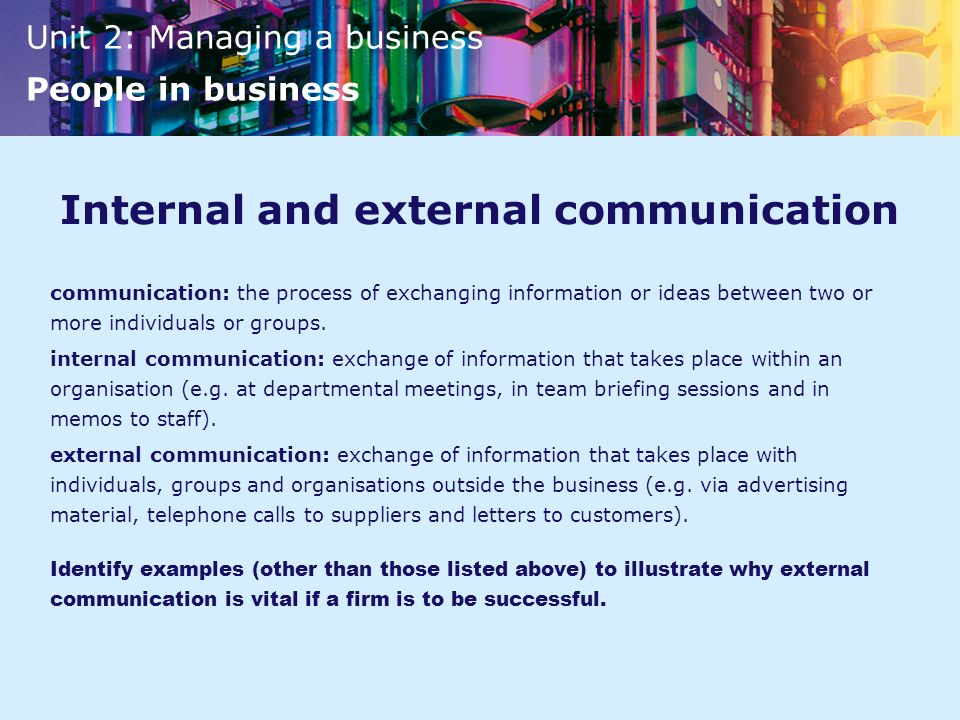 Internal and external communication