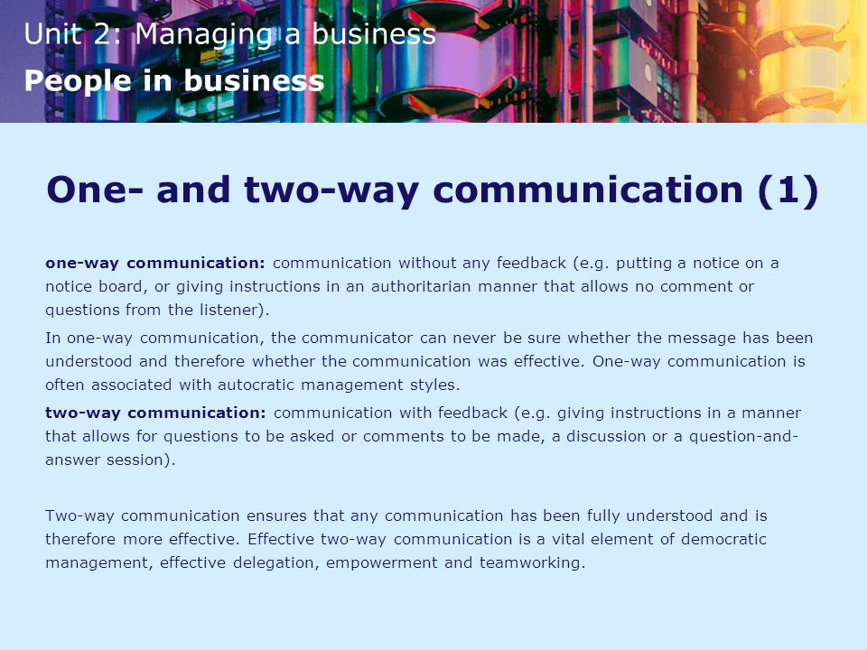One- and two-way communication (1)