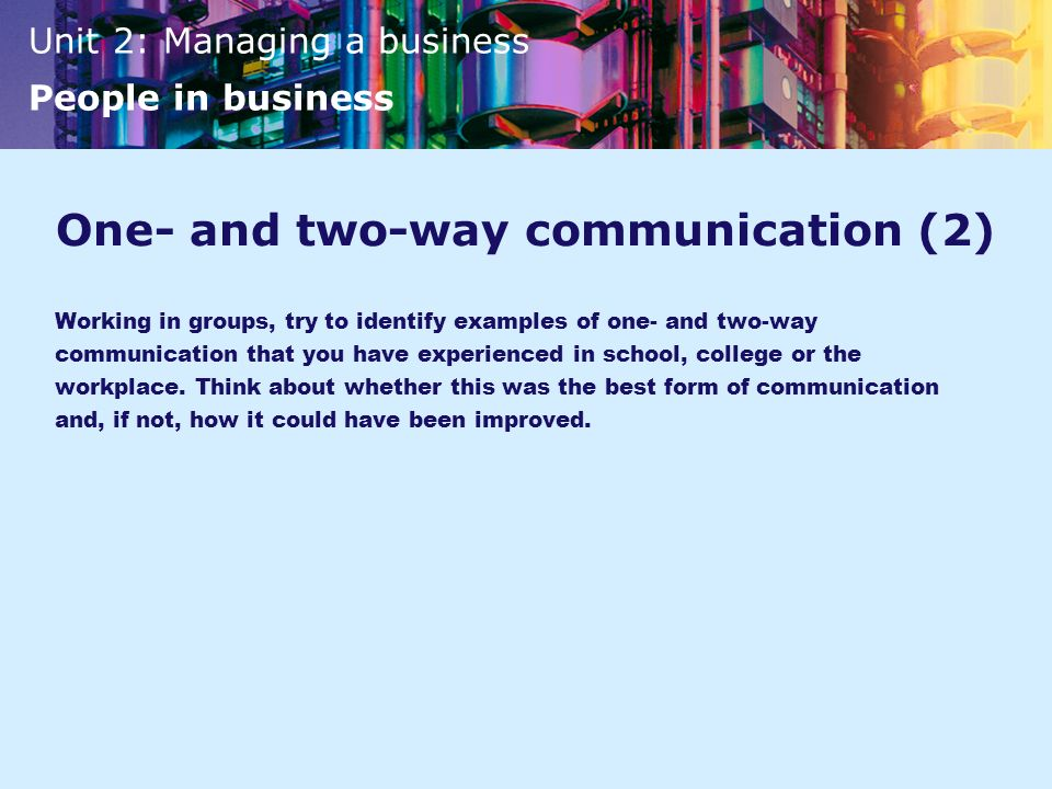 One- and two-way communication (2)