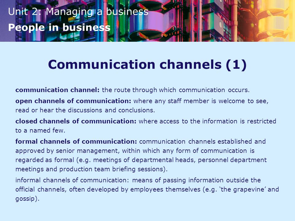 Communication channels (1)
