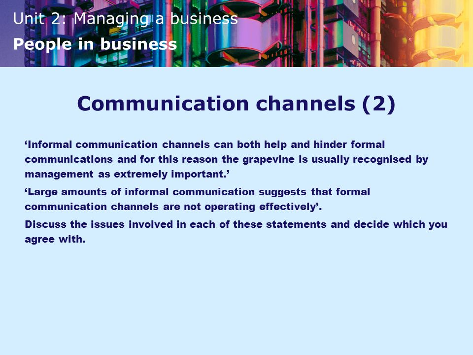 Communication channels (2)