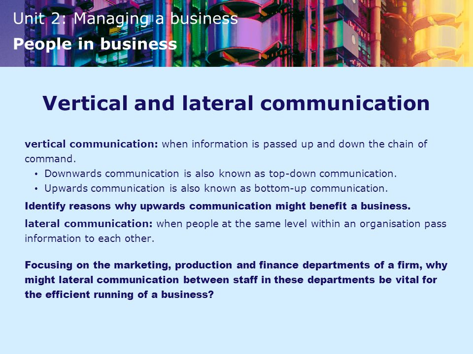 Vertical and lateral communication