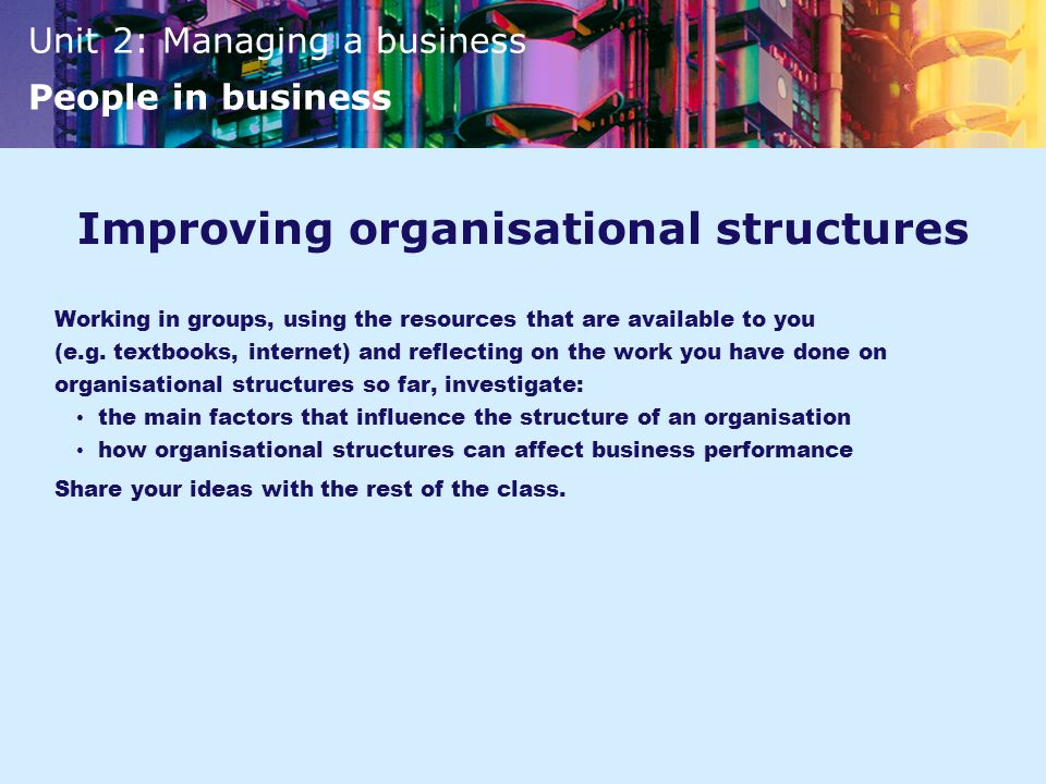 Improving organisational structures
