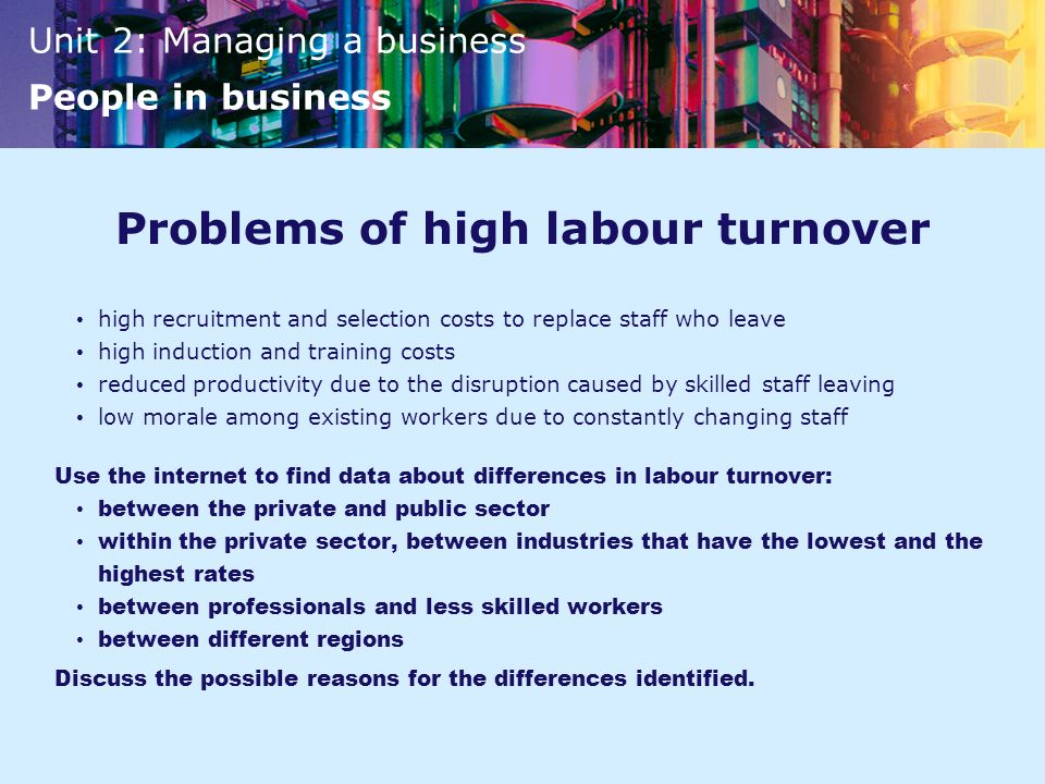 Problems of high labour turnover