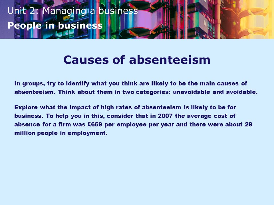 Causes of absenteeism