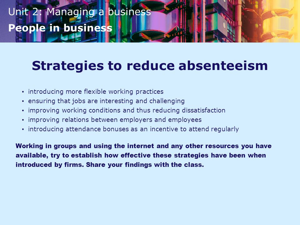 Strategies to reduce absenteeism