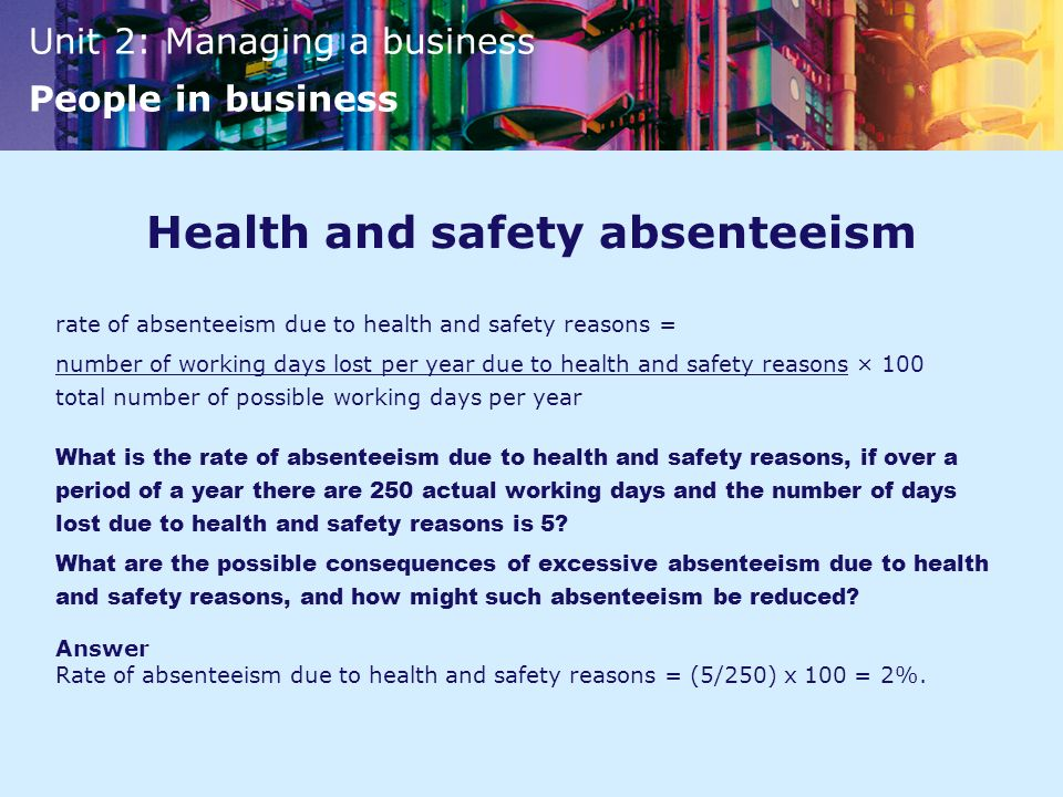 Health and safety absenteeism