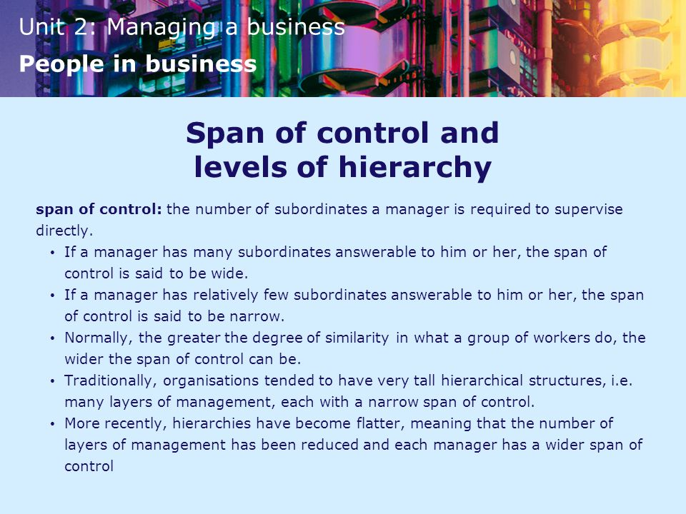 Span of control and levels of hierarchy