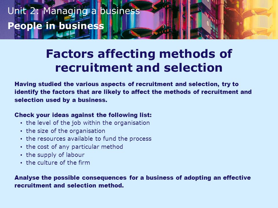 Factors affecting methods of recruitment and selection