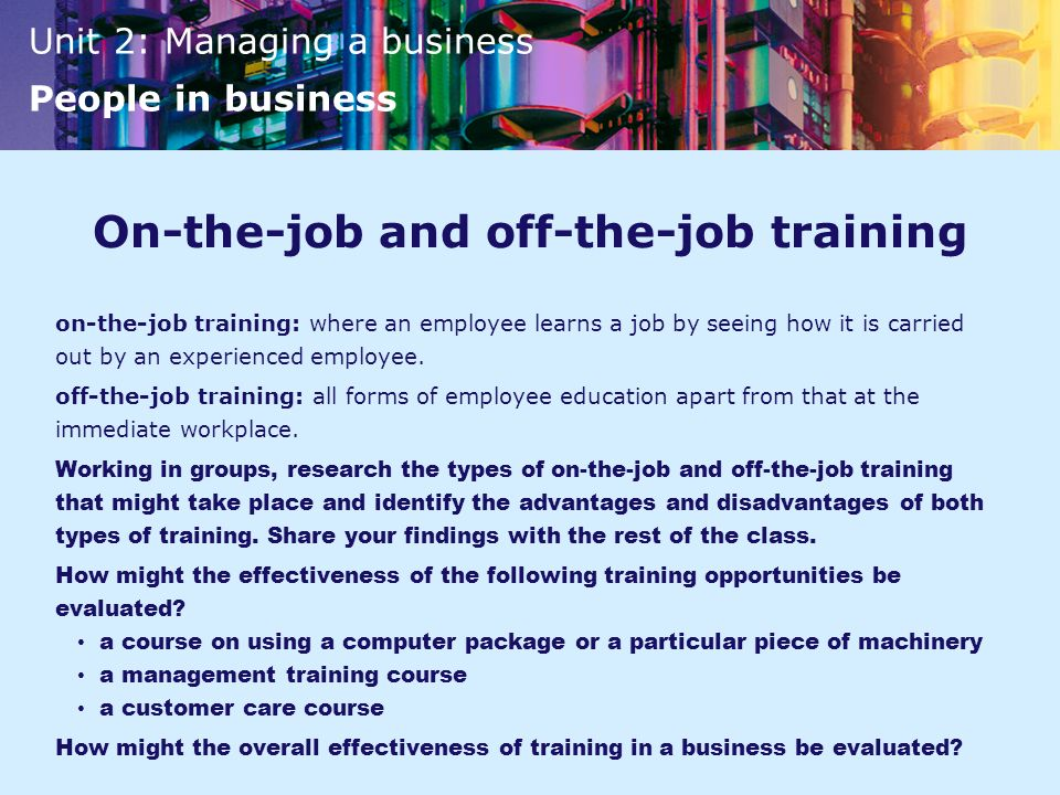 On-the-job and off-the-job training