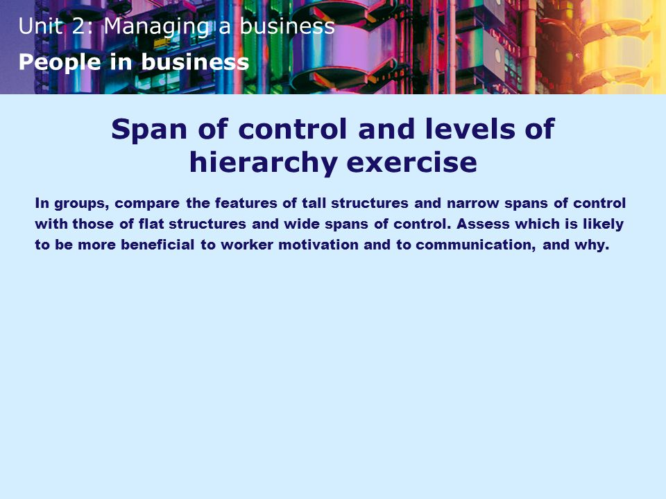 Span of control and levels of hierarchy exercise