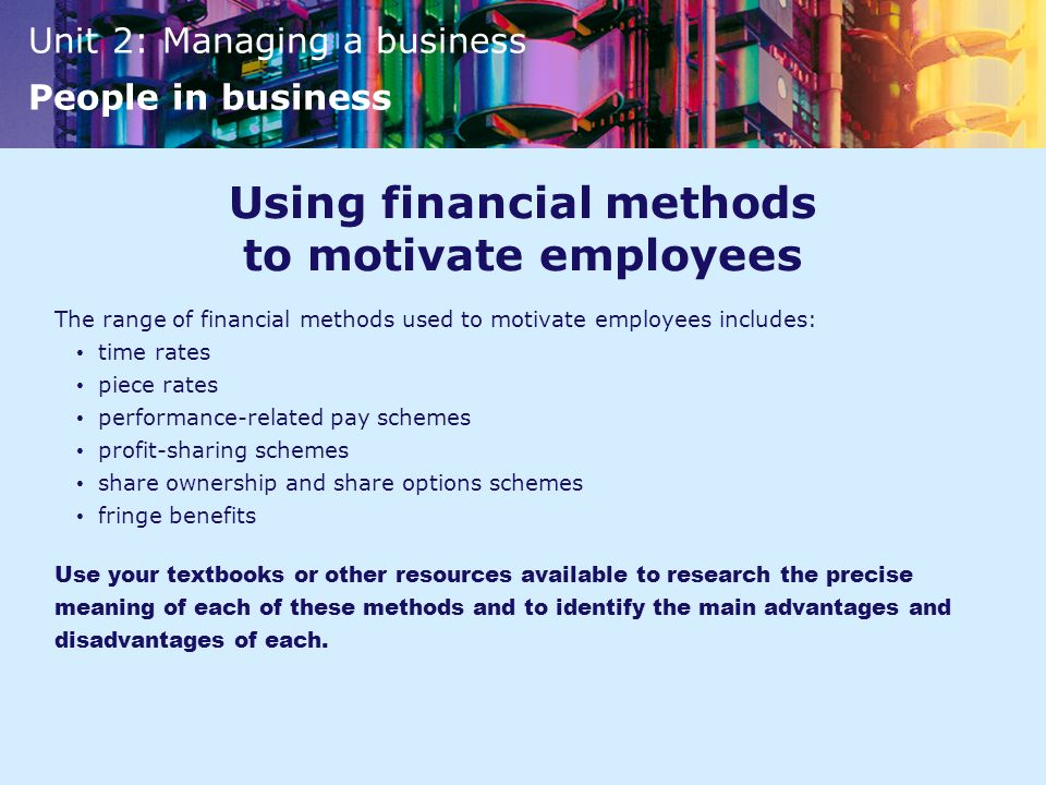 Using financial methods to motivate employees