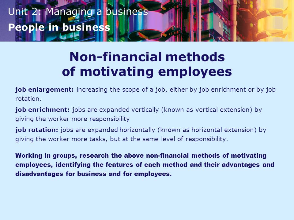 Non-financial methods of motivating employees