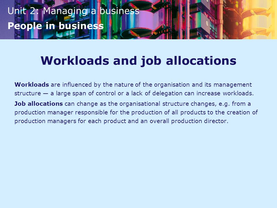 Workloads and job allocations