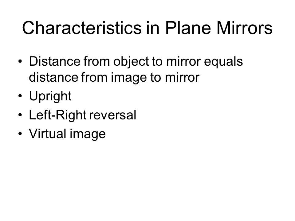 Characteristics in Plane Mirrors