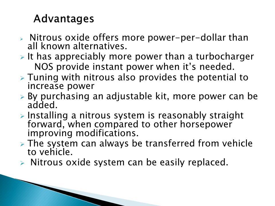 Advantages It has appreciably more power than a turbocharger