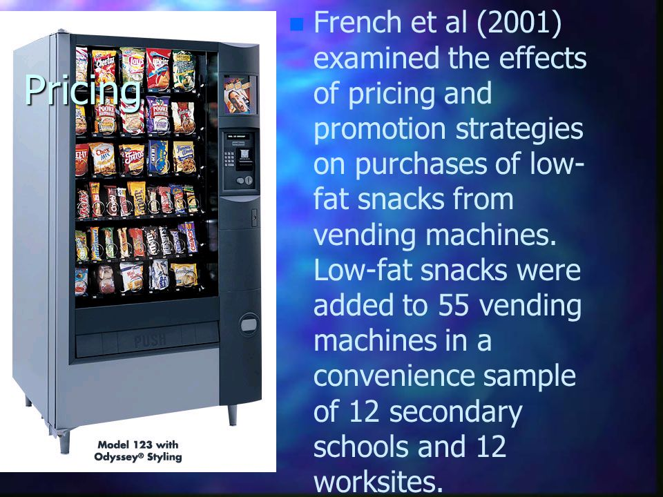 French et al (2001) examined the effects of pricing and promotion strategies on purchases of low- fat snacks from vending machines. Low-fat snacks were added to 55 vending machines in a convenience sample of 12 secondary schools and 12 worksites.