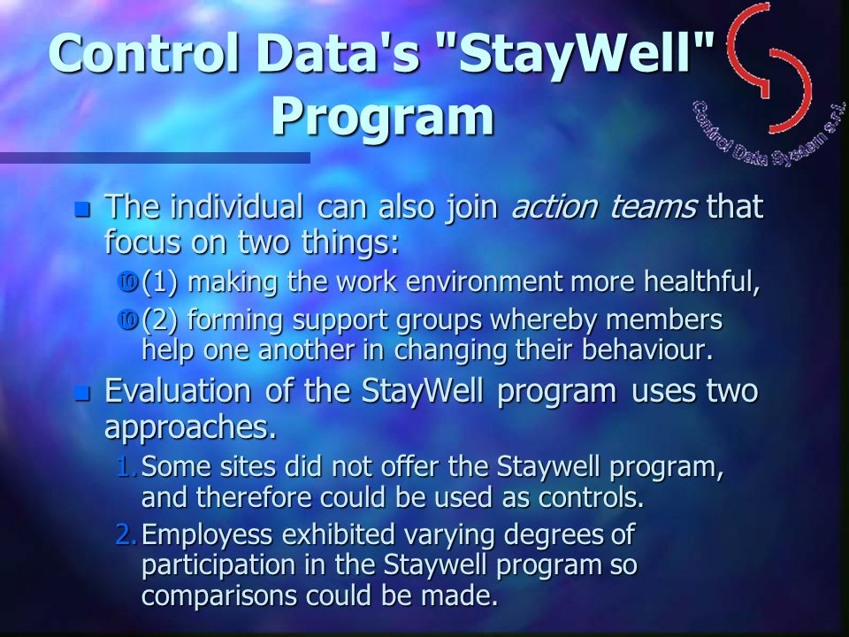 Control Data s StayWell Program
