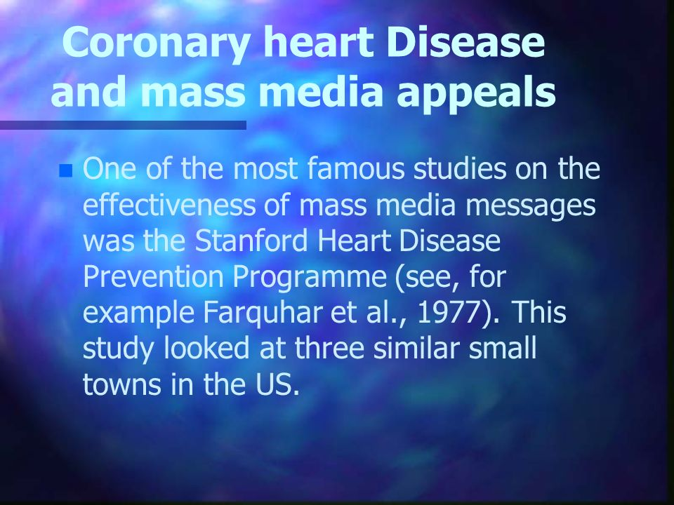 Coronary heart Disease and mass media appeals