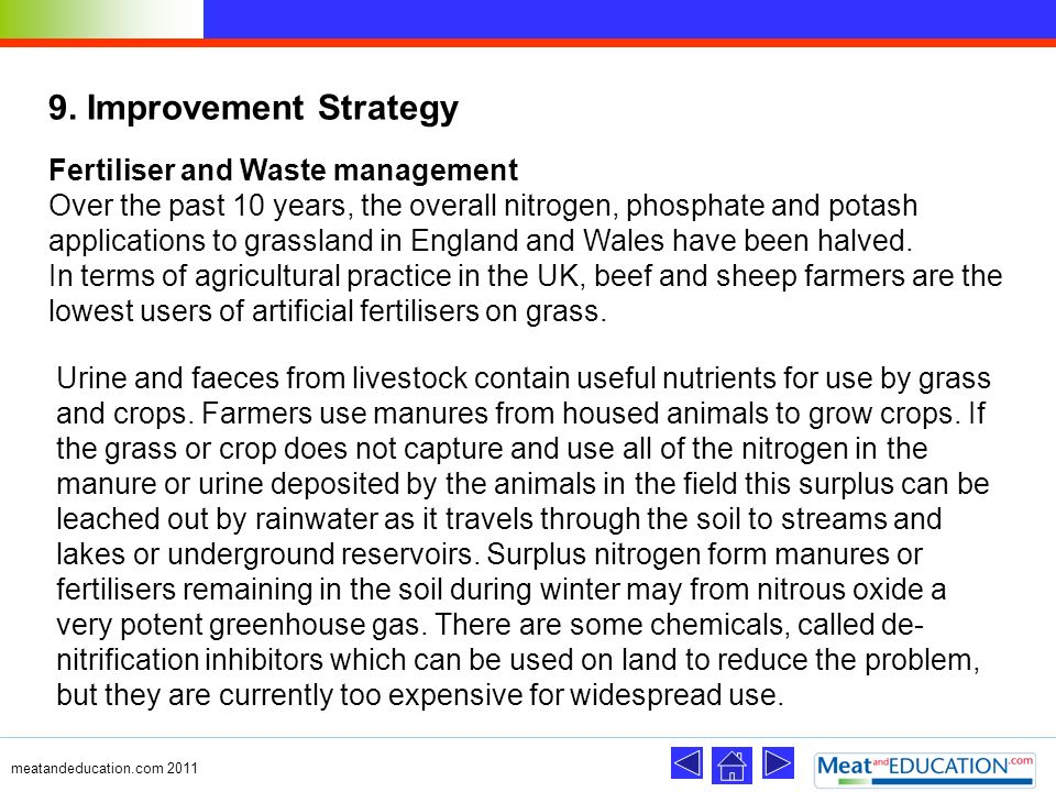 9. Improvement Strategy Fertiliser and Waste management