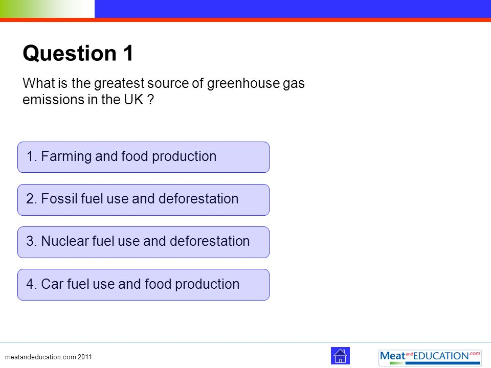 Question 1 What is the greatest source of greenhouse gas emissions in the UK 1. Farming and food production.