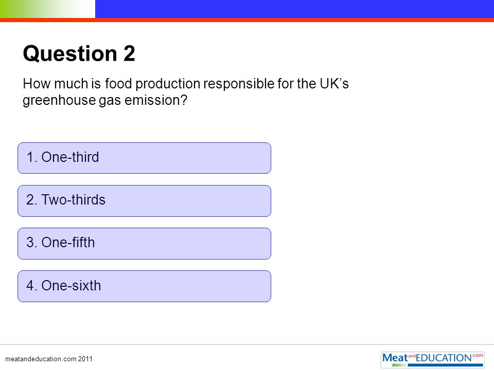 Question 2 How much is food production responsible for the UK's greenhouse gas emission 1. One-third.