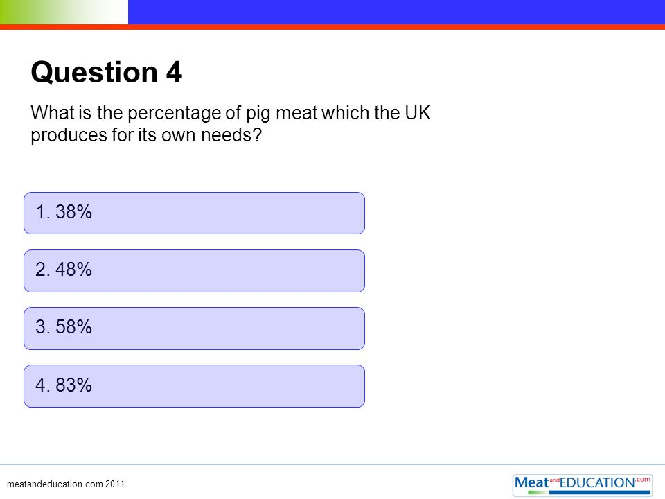 Question 4 What is the percentage of pig meat which the UK produces for its own needs 1. 38% 2. 48%