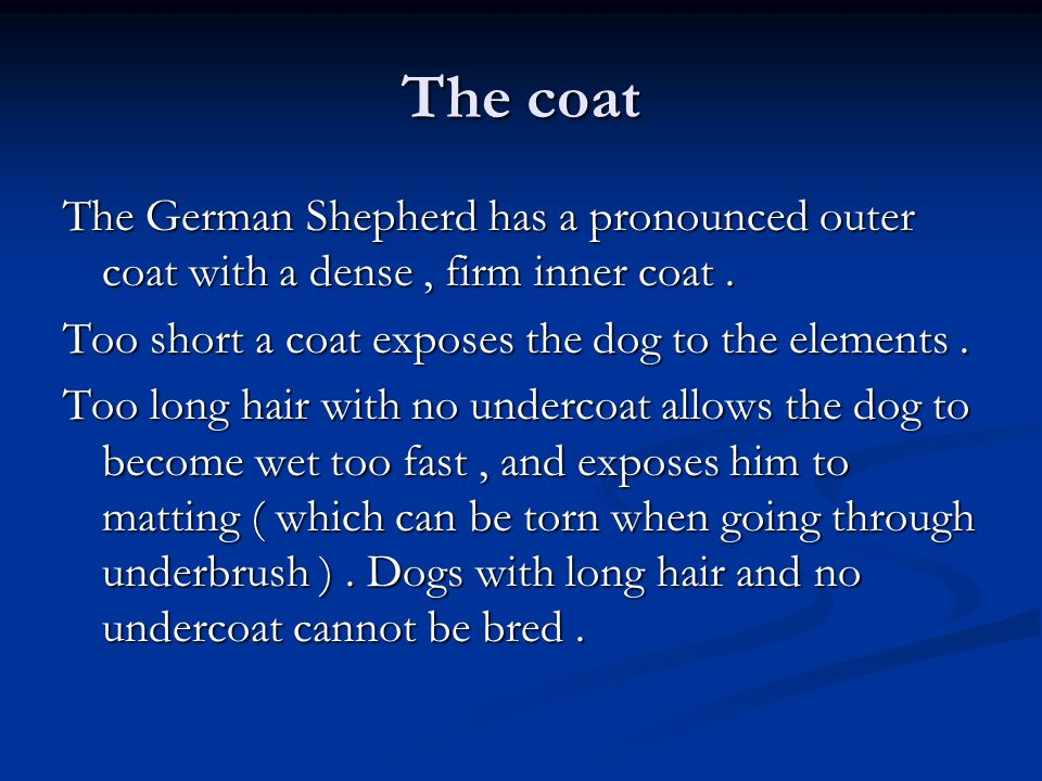 The coat The German Shepherd has a pronounced outer coat with a dense , firm inner coat . Too short a coat exposes the dog to the elements .