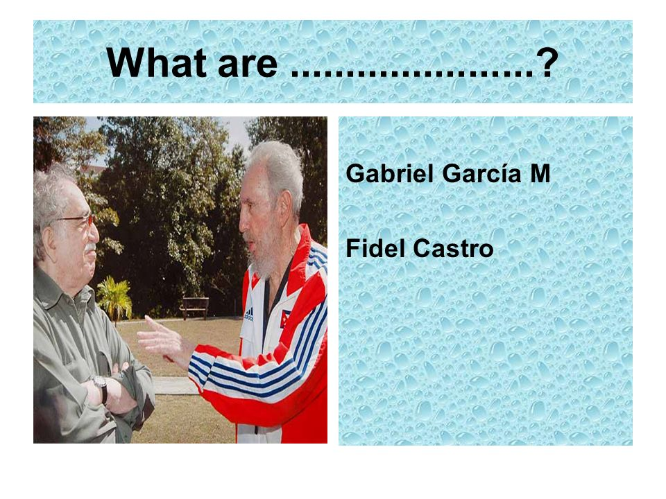 What are ...................... Gabriel García M Fidel Castro
