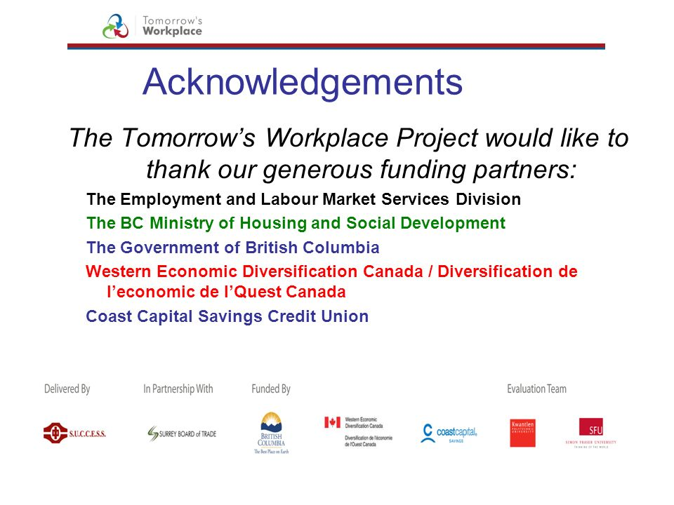 Acknowledgements The Tomorrow's Workplace Project would like to thank our generous funding partners: