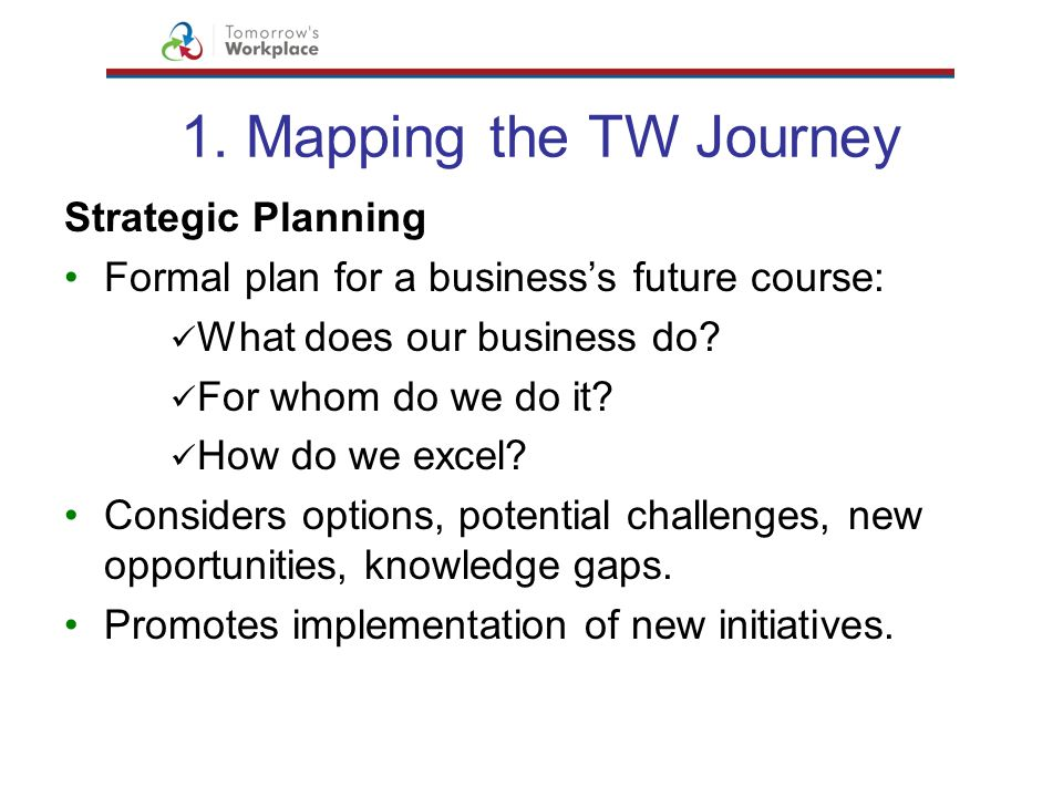 1. Mapping the TW Journey Strategic Planning