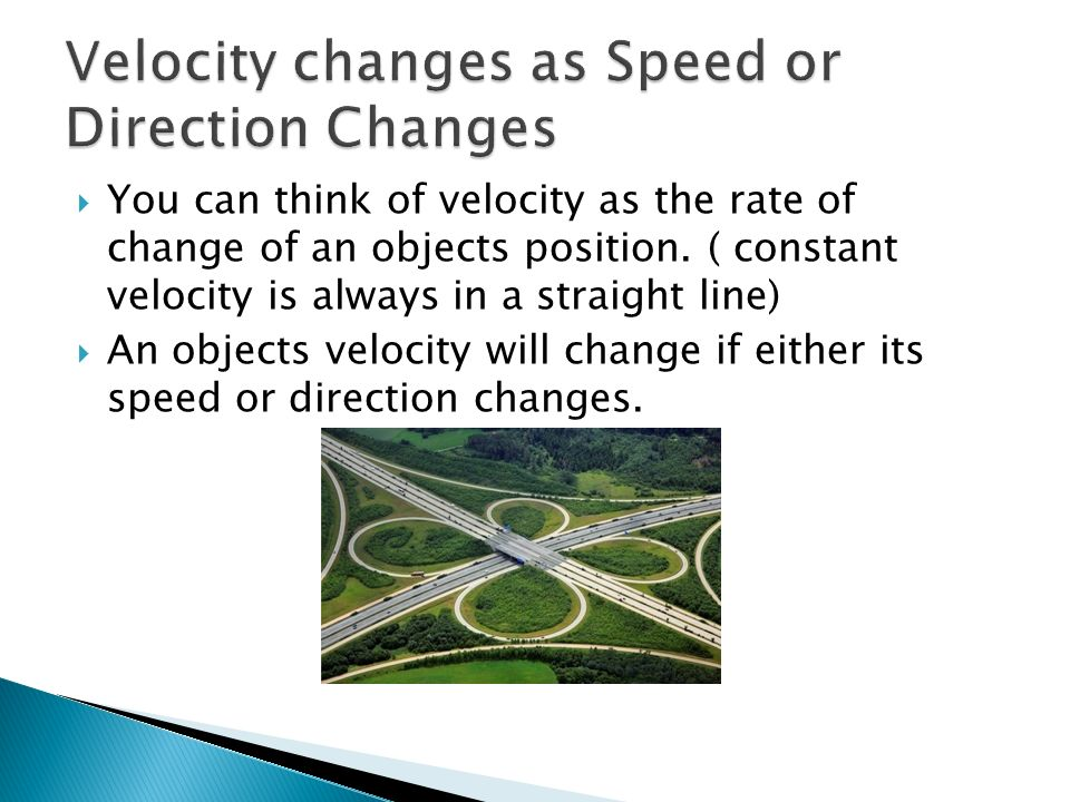 Velocity changes as Speed or Direction Changes
