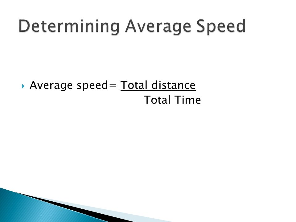 Determining Average Speed
