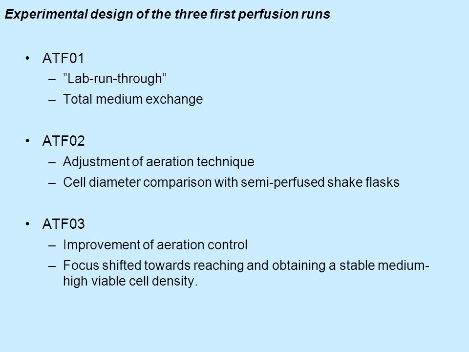Experimental design of the three first perfusion runs
