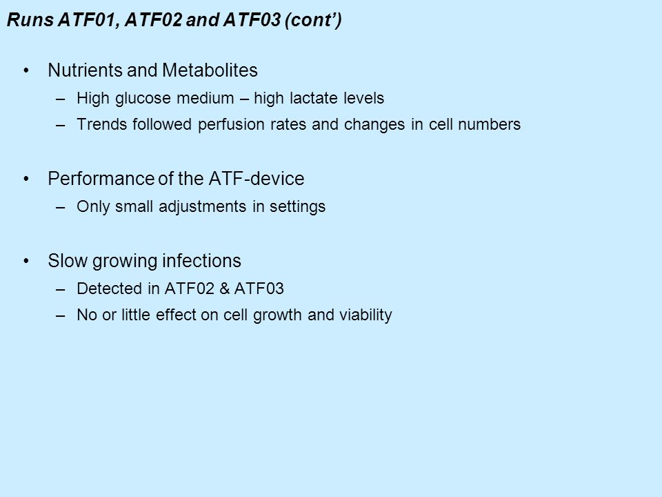 Runs ATF01, ATF02 and ATF03 (cont')