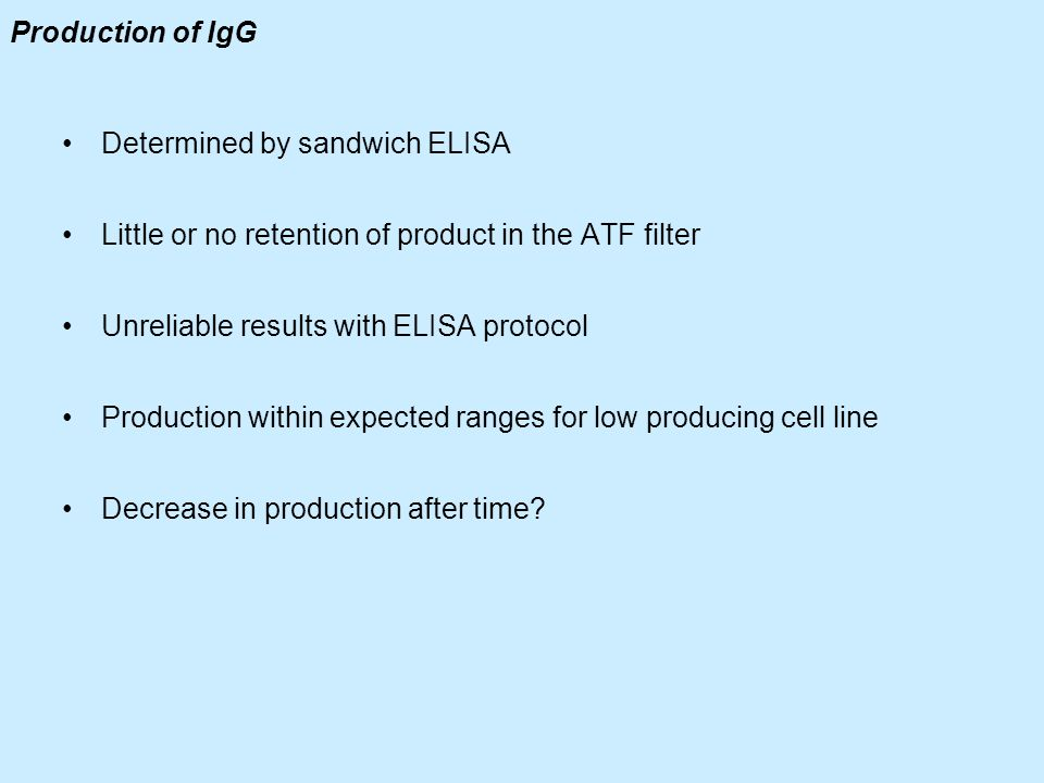 Production of IgG Determined by sandwich ELISA. Little or no retention of product in the ATF filter.