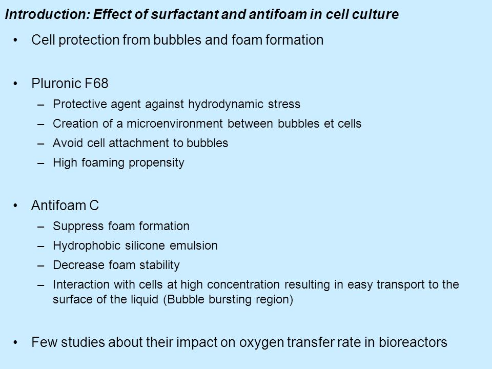 Introduction: Effect of surfactant and antifoam in cell culture