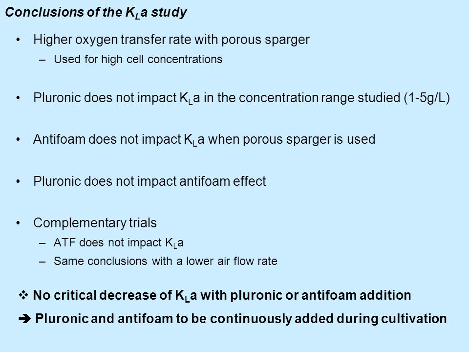 Conclusions of the KLa study