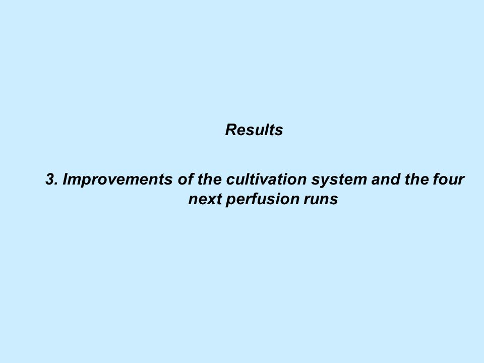 Results 3. Improvements of the cultivation system and the four next perfusion runs