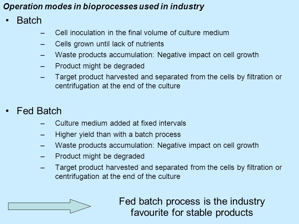 Operation modes in bioprocesses used in industry