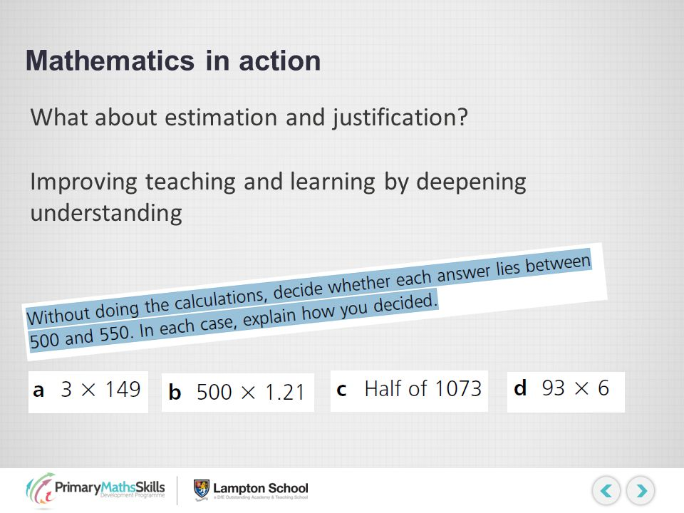 Mathematics in action What about estimation and justification