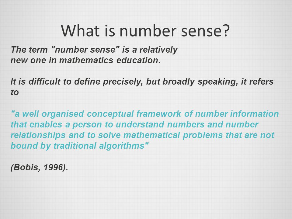 What is number sense