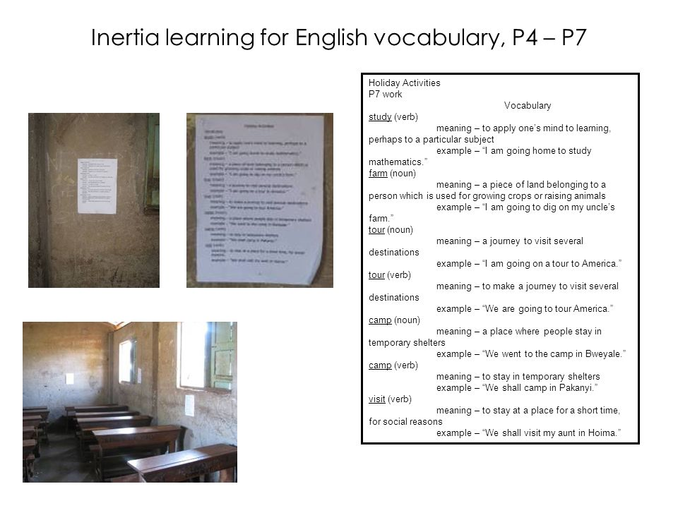 Inertia learning for English vocabulary, P4 – P7