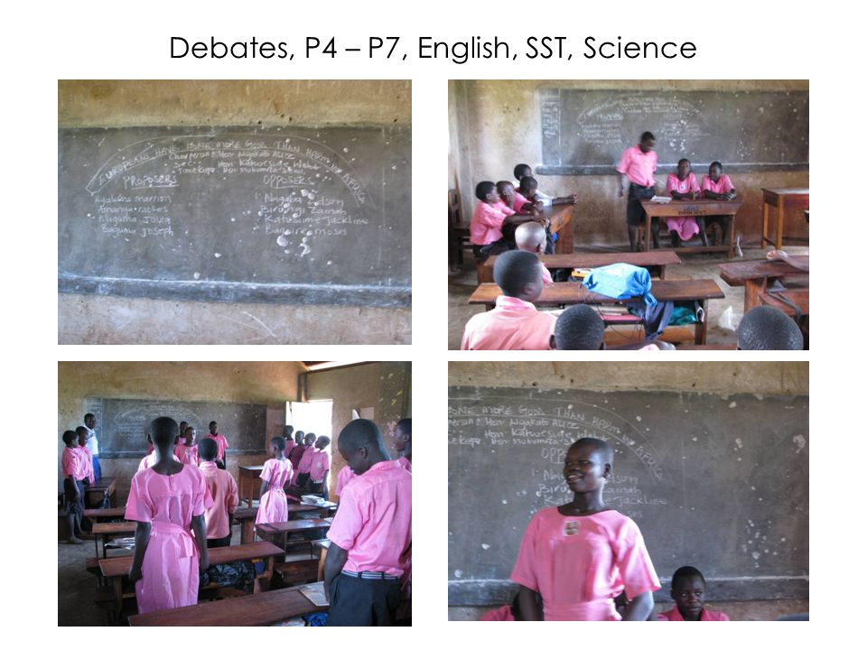Debates, P4 – P7, English, SST, Science